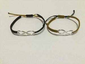 2x DIY Armband Armkette Freundschaftsarmband *Infinity* Silber Schwarz Ocker