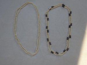 Collier de perles gris anthracite-blanc