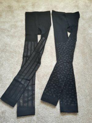 2x warme Baumwoll-Leggings mit Muster