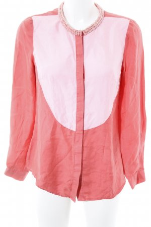 3.1 Phillip Lim Silk Blouse bright red-light pink color blocking elegant