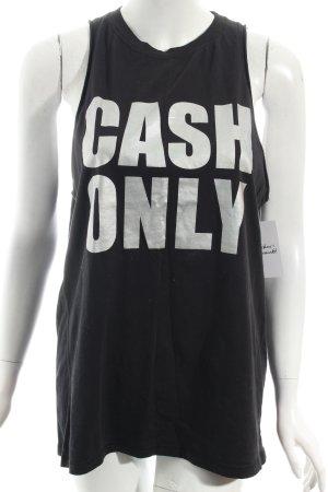 3.1 Phillip Lim Tanktop schwarz-silberfarben Schriftzug gedruckt Casual-Look