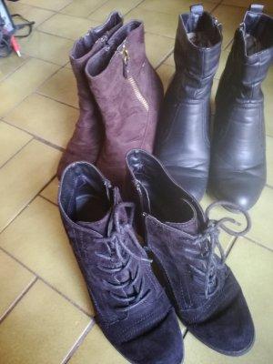 Winter Booties black-cognac-coloured