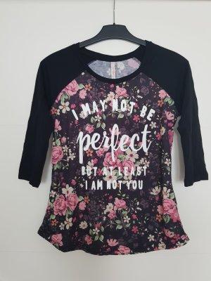 3/4-Ärmel Shirt mit Blumenmuster & Schriftzug