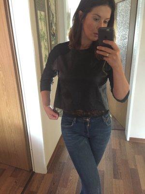 Blusa de manga corta negro Imitación de cuero