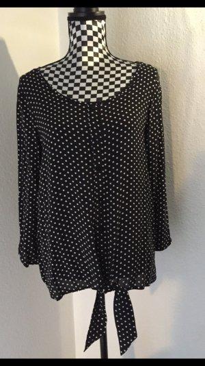 Deichmann Slip-over blouse zwart-wit Viscose
