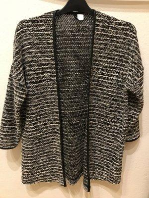 H&M Divided Long Knitted Vest black-white polyester