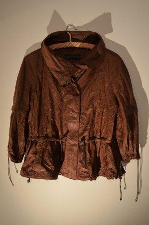 Zara Woman Giacca in ecopelle marrone-bronzo Tessuto misto