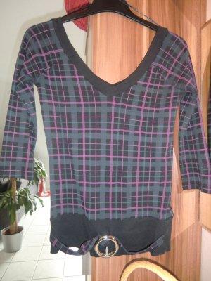 3/4-Arm-Shirt in schwarz-pink Karos mit Gürtel in S