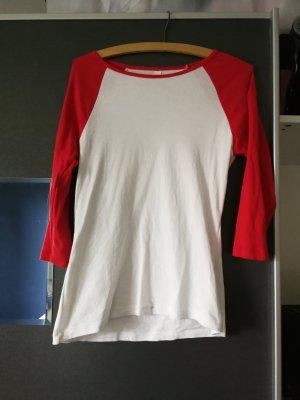 3/4 Arm Shirt mit roten Ärmeln
