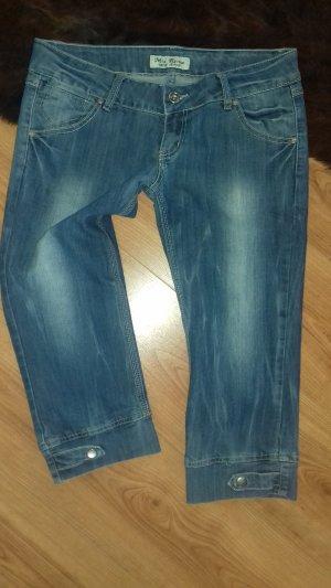 Jeans 3/4 bleu tissu mixte