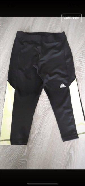 Adidas Pantalón pirata negro-amarillo neón