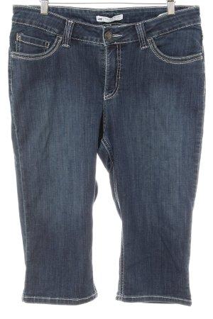 Jeans 3/4 bleu foncé-blanc style décontracté