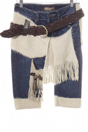 Jeans a 3/4 multicolore stile country