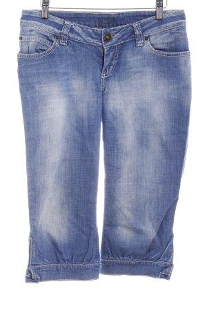 3/4 Jeans stahlblau-wollweiß Washed-Optik