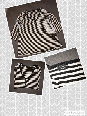 3/4 langarmshirt in schwarz-weiß gestreift