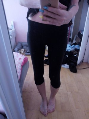 3/4 lange Sportleggings schwarz Anthrazit Gr. XS