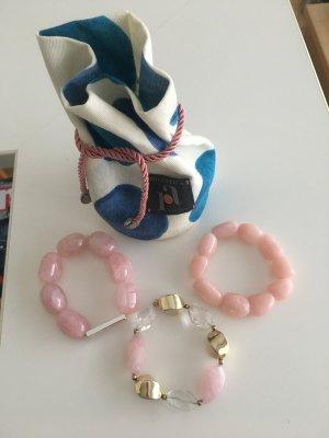 3 Armbänder echter Rosenquarz