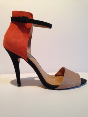 Zara Strapped High-Heeled Sandals multicolored leather