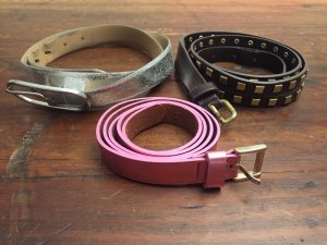 3 coole Gürtel Pink metallic Silber Braun mit Nieten Taifun Gerry Weber Leder