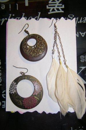 3 einzelne Ohrringe Hippie/Ethno/Boho