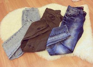3-er Set Highwaist Jeans in jeansblau und millitärgrün