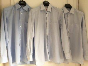 3-er Set Olymp Hemden - blau / blau-weiß kariert / blau-weiß gestreift