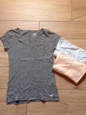3 Hollister T-Shirts mit V-Ausschnitt Größe M hellblau grau meliert pfirsich