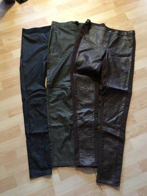 3 Hosen, verschiedene Hersteller, Lederoptik Gr. 40/L