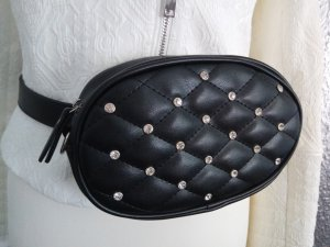 Bumbag black-silver-colored imitation leather