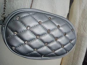 Bumbag silver-colored imitation leather
