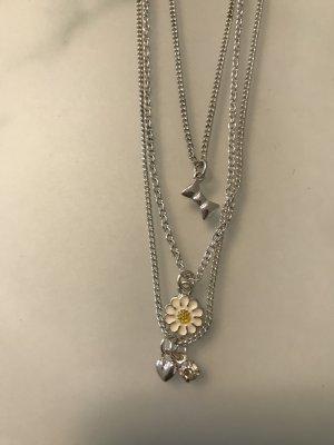 3 Ketten in einer Silber Halskette mit Anhänger Primark