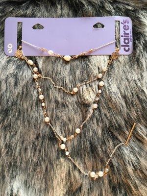 3 lagige Hals-Kette mit Perlen