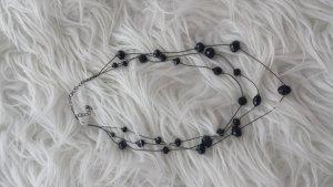 3 Lagige Kette Perlen schwarz
