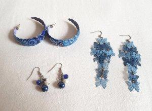 3 Ohrhänger Ohrringe Blau Weiß Creolen, Perlen und Schmetterlinge