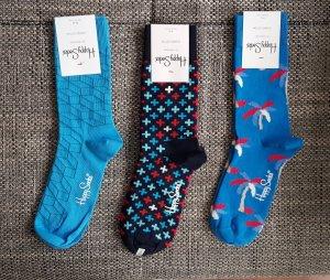 Happy socks Manchetten lichtblauw-neon blauw