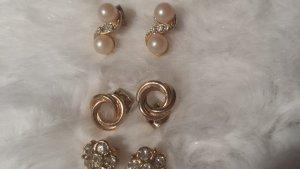 3 Paar Ohrringe gold perlen glitzersteine