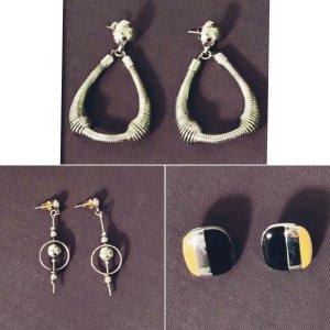 3 Paar Ohrringe Ohrstecker silberfarben Vintage