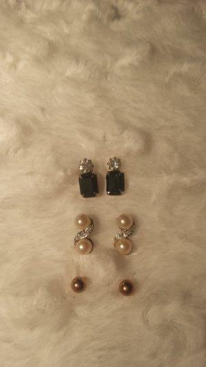 3 Paar Ohrringe Ohrstecker steinchen silber perlen