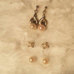 3 Paar Ohrringe Perlen Ohrstecker silber
