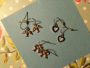 3 Paare Ohrringe Hänger klein und dezent Herz, Schwalbe, Schleife gold