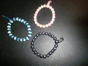 3 perlenarmbänder,neu,dehnbar,rose,türkis,silber