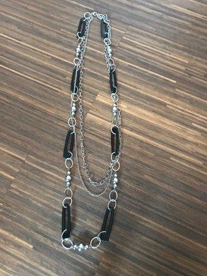 Chaîne à maillons noir-argenté métal