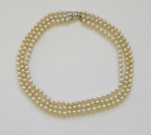 3-reihige Perlenkette Collier Perlen Kette Silber echt 835 Punze JKA aus Pforzheim