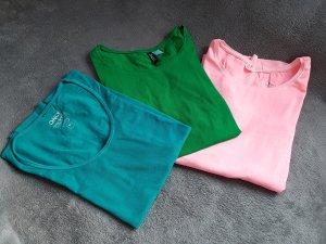 3 Shirts Grün Neonpink Petrol H&M Only Gr. M