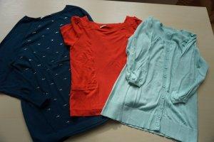 3 Shirts, Longpullover von Oasis Gr. XS-S petrol, korallenrot, mint
