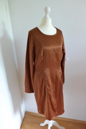 3 Suisses Collection Kleid Langarm Satin braun kupfer Gr. 40 neu