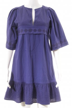3 Suisses Kurzarmkleid lila-blauviolett Lochstrickmuster Elegant