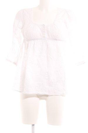 3 Suisses Langarm-Bluse weiß florales Muster Boho-Look