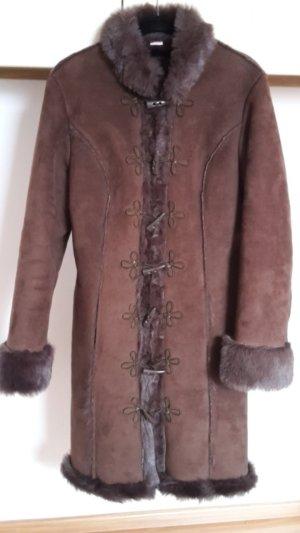 3 Suisses Abrigo de piel sintética marrón piel artificial