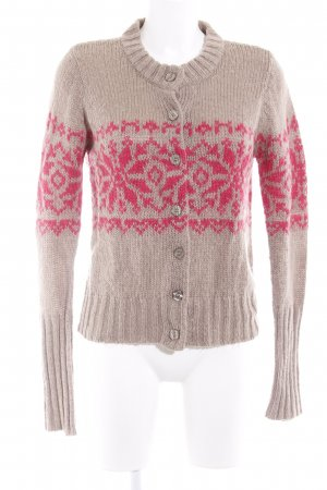 3 Suisses Strick Cardigan beige-magenta abstraktes Muster Casual-Look